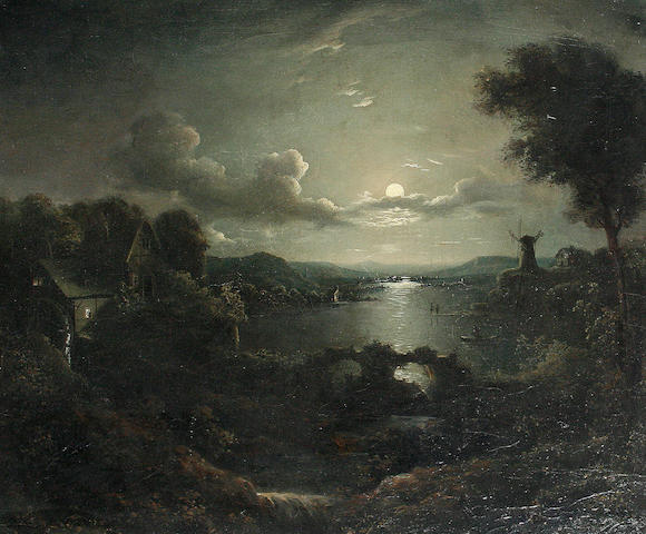 Follower of Sebastian Pether (British, 1790-1844) Moonlit lamdscape