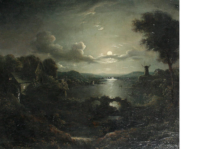 Follower of Sebastian Pether (British, 1790-1844) Moonlight scene