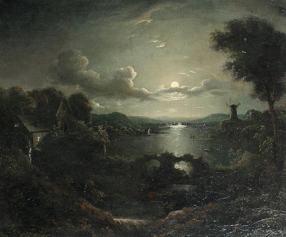 Follower of Sebastian Pether (British, 1790-1844) Moonlight scene