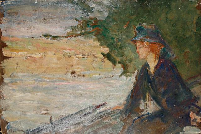 Albert de Belleroche (British, 1864-1944) A woman seated beside a river