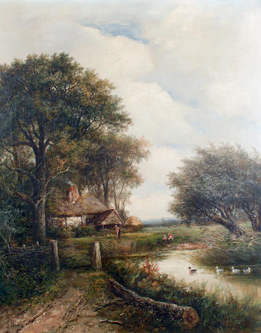 Joseph Thors (British, circa 1843-1898) A cottage beside a river; A woodland river (2)