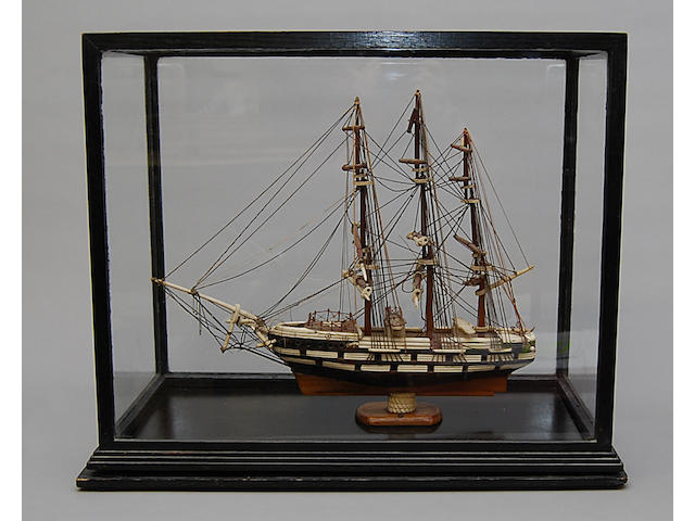 A wooden and ivory model of the Fontenoit ship