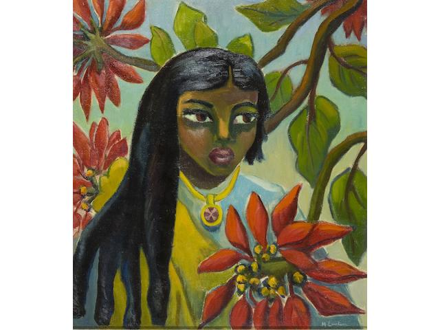 "Maria Magdalena (""Maggie"") Laubser (South African, 1886-1973) Indian girl with pontsettias"