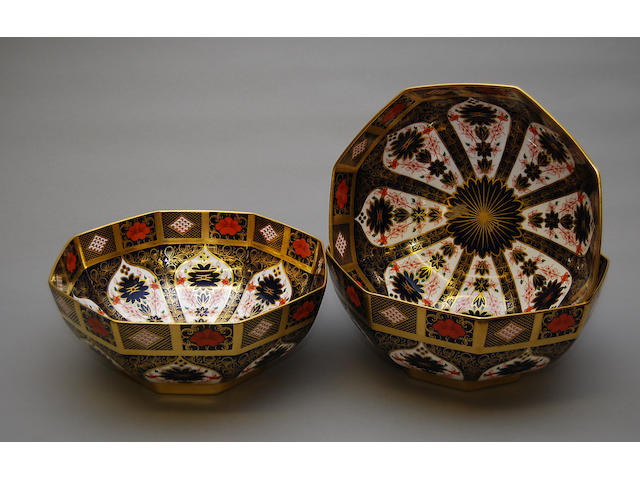 Three Royal Crown Derby octagonal bowls