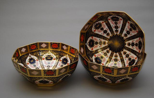 Three Royal Crown Derby octagonal bowls