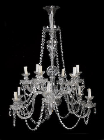 A George III style cut glass twelve light chandelier
