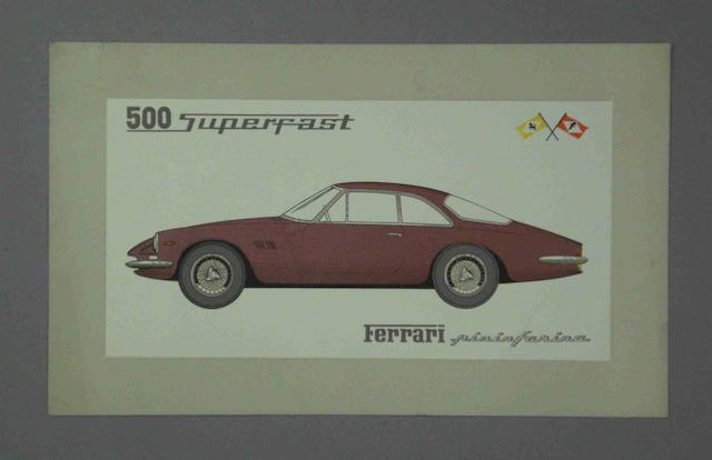 A Ferrari 500 Superfast factory card,