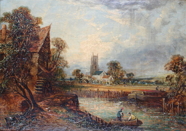 Joseph Paul (British, 1804-1887) Suffolk landscape with barge by a watermill,