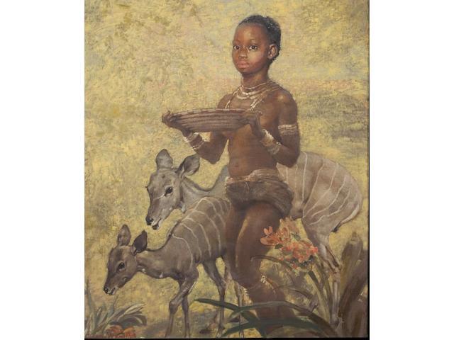 Edith Grace Wheatley (British, 1888-1970) Masai girl and kudu