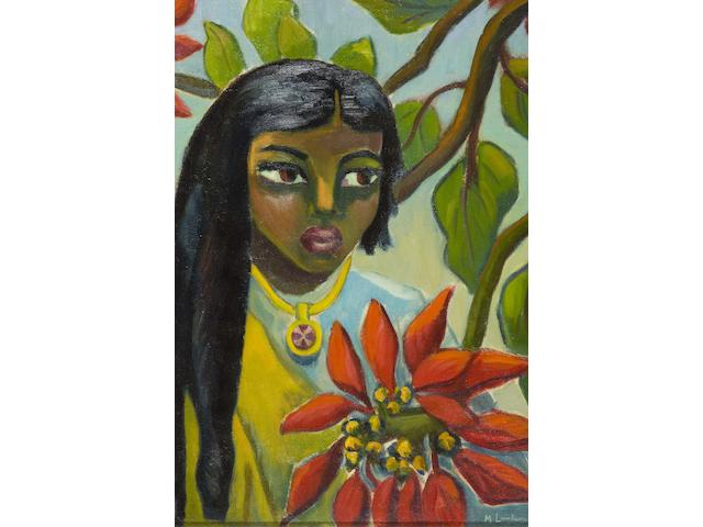 "(n/a) Maria Magdalena (""Maggie"") Laubser (South African, 1886-1973) Indian girl with poinsettias"