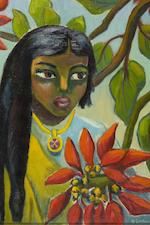 "Maria Magdalena (""Maggie"") Laubser (South African, 1886-1973) Indian girl with poinsettias"