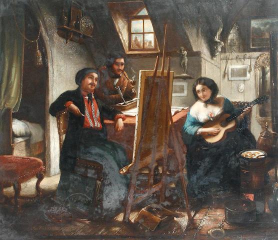 Josef Cornelius Correns (Belgian, 1814-1907) The artist's studio