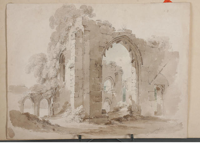 "Paul Sandby Munn (British, 1773-1845) ""Finchale, Durham"" signed, inscribed and dated 'July 1805', pencil, watercolour and monochrome wash, unframed, 25 x 33cm; together with two other unframed 19th century watercolours of Westminster Catherdral and a German or Austrian street scene, all unframed. (3)"