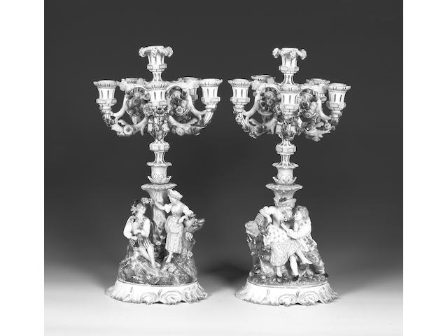 A pair of Dresden five-light candelabra Late 19th century