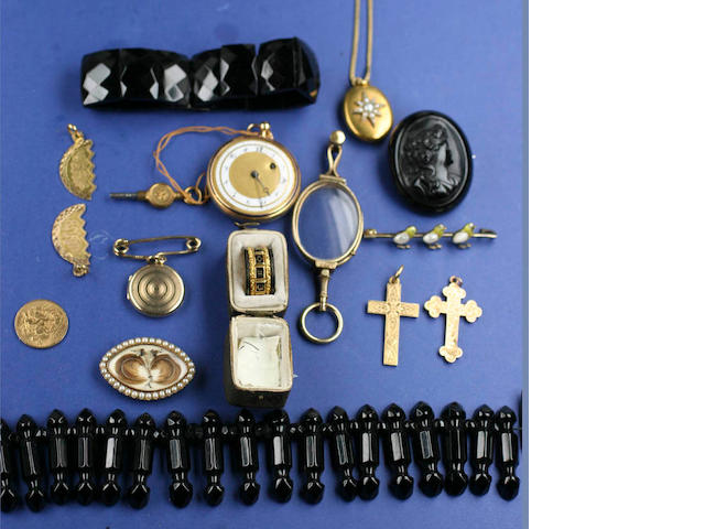 A collection of mourning jewellery