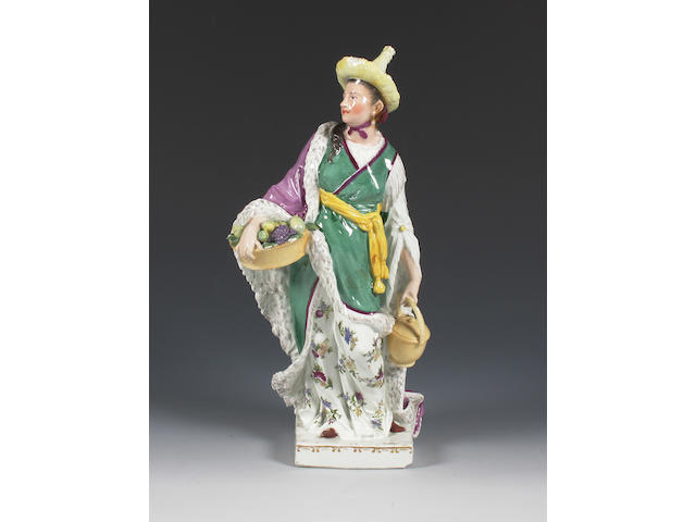 A fine and rare Meissen figure of a Malabar woman Mid 18th Century