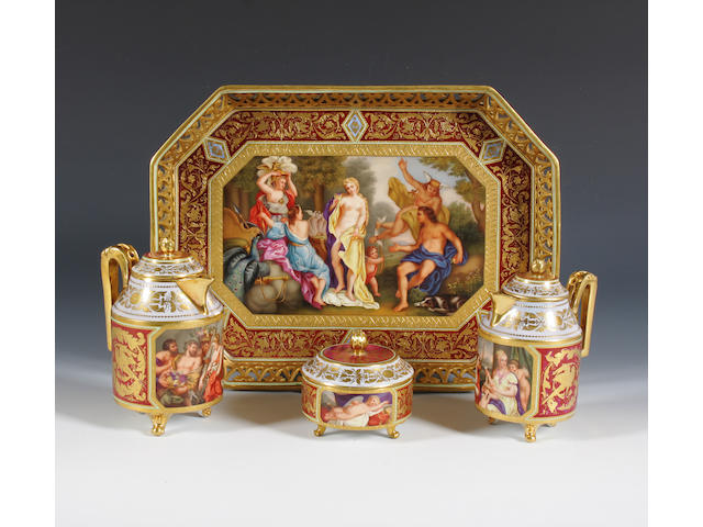 A Vienna style tray, two chocolate pots and covers and a sugar bowl and cover Late 19th Century.
