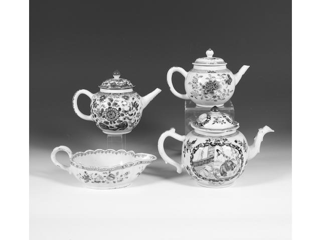 Three Chinese export teapots and covers and a sauceboat 18th century