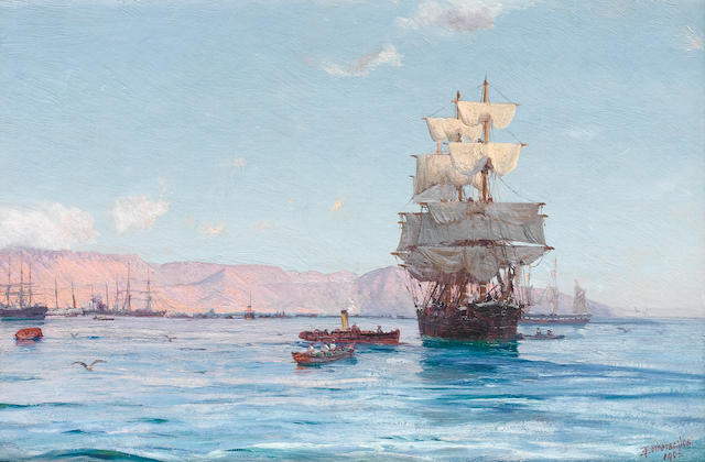 Thomas Jacques Somerscales (British, 1842-1927) Port of Iquique, Chile