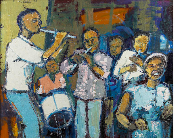 Ephraim Mojalefa Ngatane (South African, 1938-1971) The Band