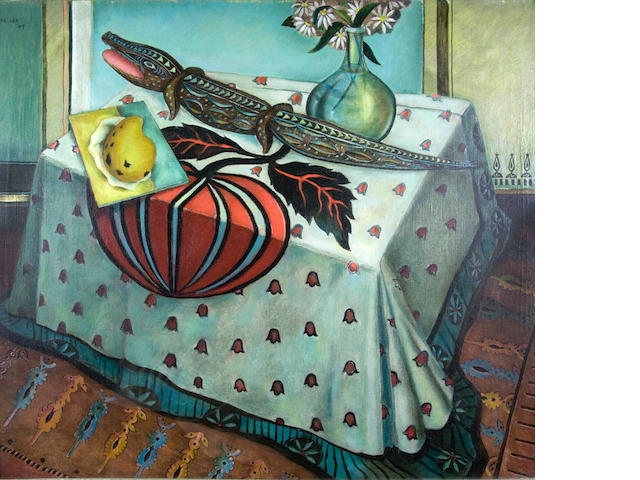 Alexis Preller (South African, 1911-1975) Still life with crocodile