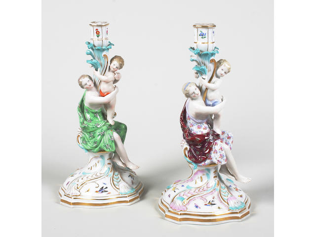 Two similar Meissen figural candlesticks Late 19th century