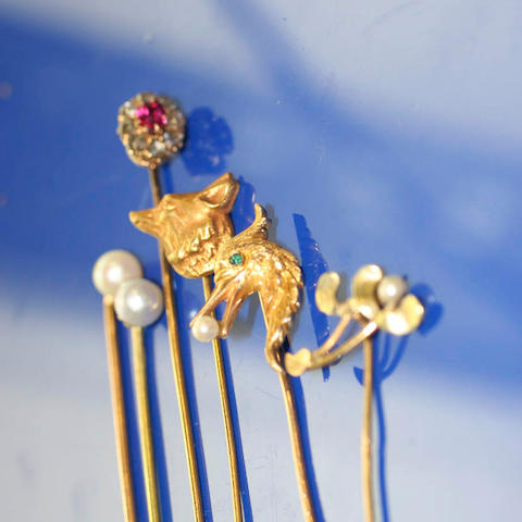 A collection of six stickpins