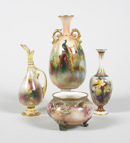 A Royal Worcester twin-handled vase, a Hadley Ware vase and a ewer, and a Hadleys small jardiniere Circa 1900.