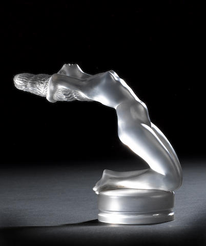 A 'Chrysis' nude mascot in satin and frosted glass by René Lalique, French, introduced by Lalique on 21 March 1931