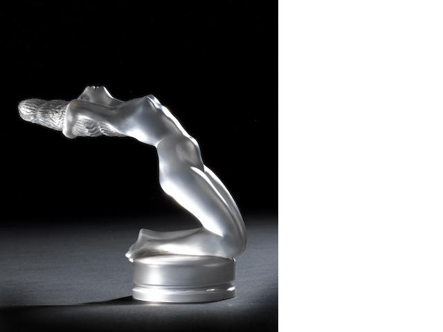 Chrysis, Backward leaning nude mascot in satin and frosted glass by René Lalique,