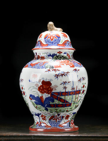 A large pearlware vase and cover, circa 1820