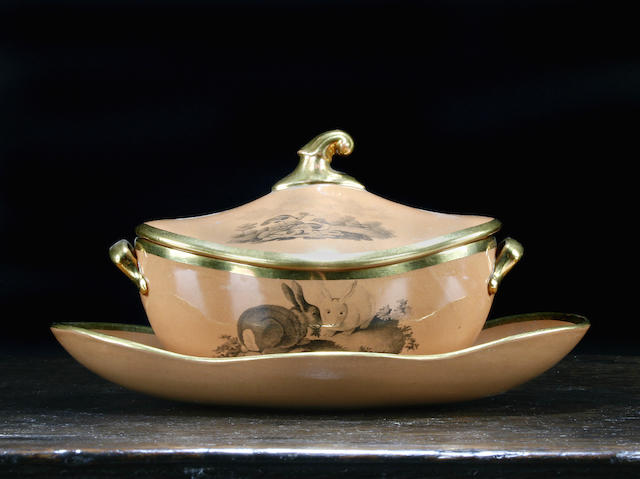 A Spode Calcedony sauce tureen with cover and stand, circa 1810
