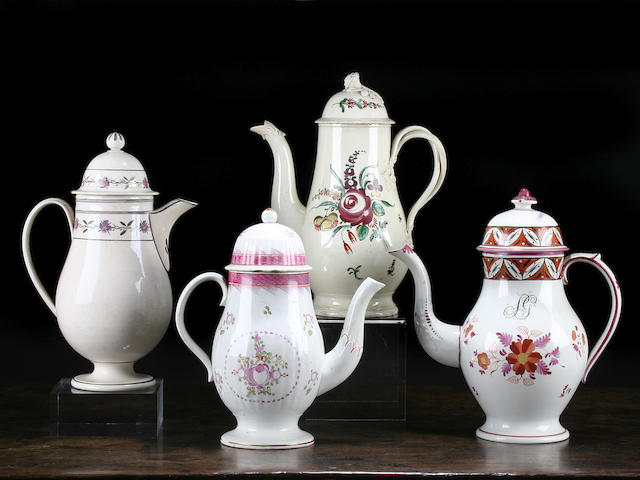 Two pearlware coffee pots and covers, circa 1800
