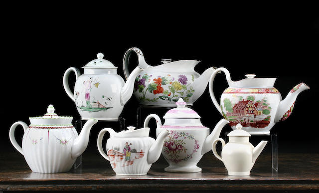 Six pearlware coffee pots and covers, circa 1790-1820