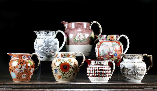 Seven pearlware jugs, circa 1795-1815