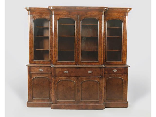 A reproduction, Victorian style, burr walnut breakfront bookcase