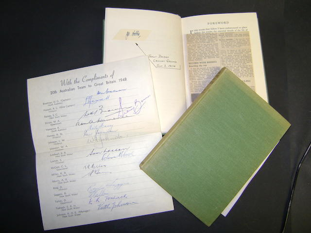 Invincibles 1948 and Jack Hobbs hand signed cricket books