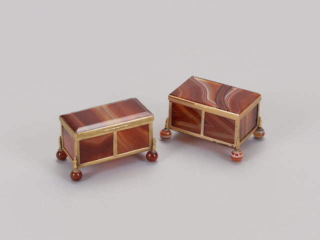 A late 19th century Italian gilt metal mounted and agate casket