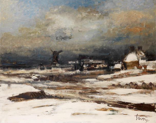 Albert Saverys (Belgian, 1886-1964) Winter landscape