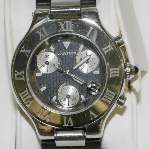 Cartier: A stainless steel wristwatch