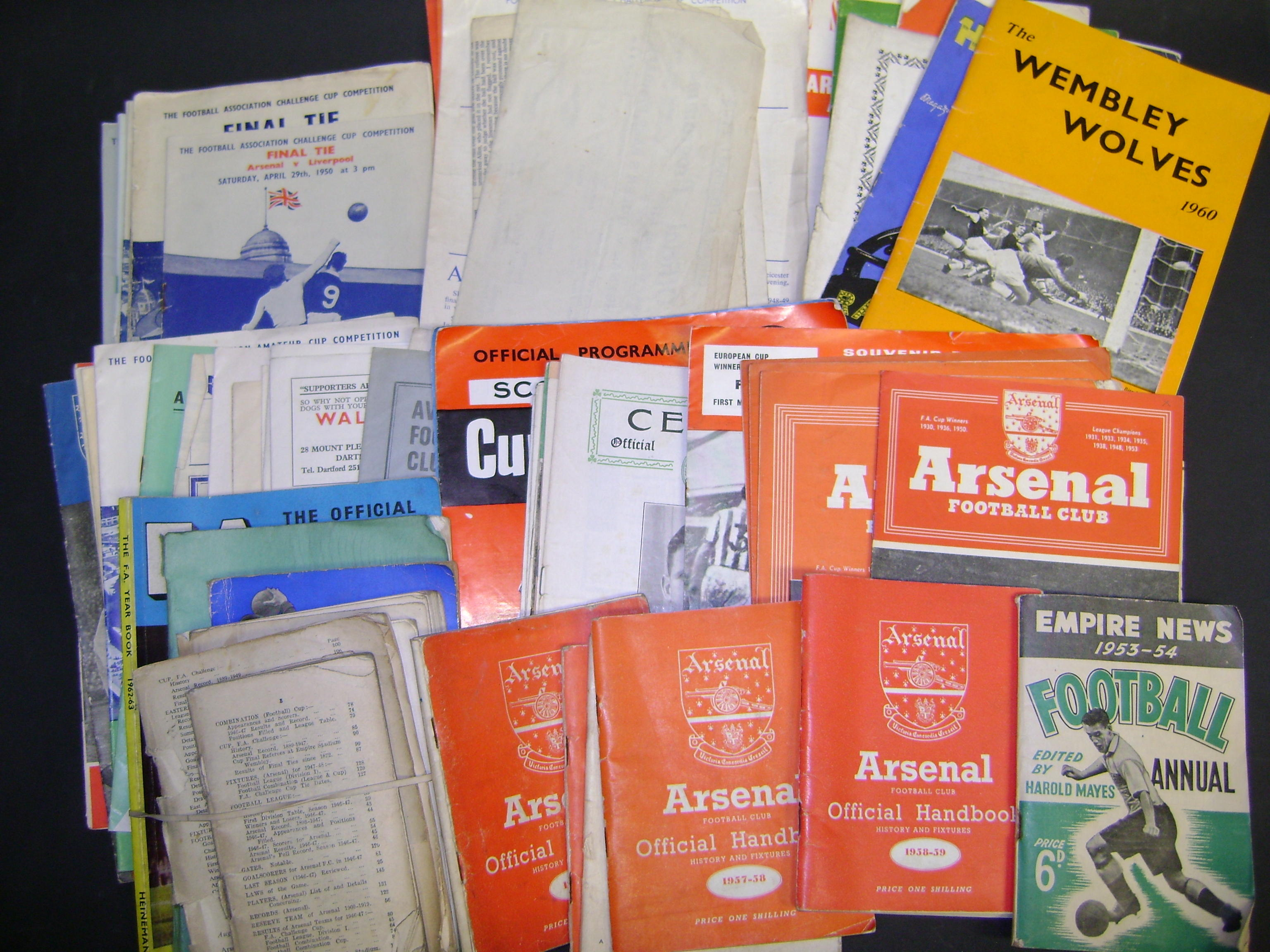 Various programmes including F.A. Cup and European