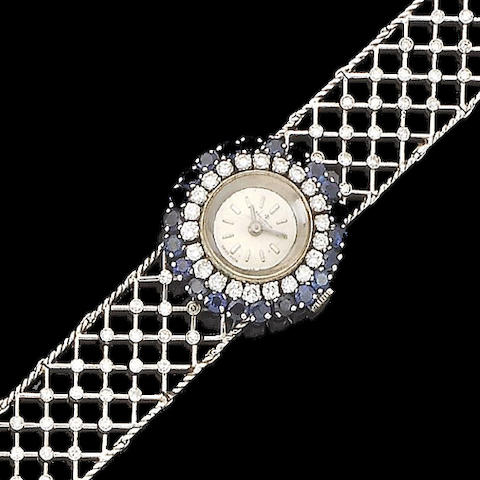 A lady's sapphire and diamond cocktail watch, by Baume & Mercier,