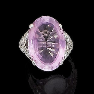 An art deco kunzite and diamond ring, by Cartier