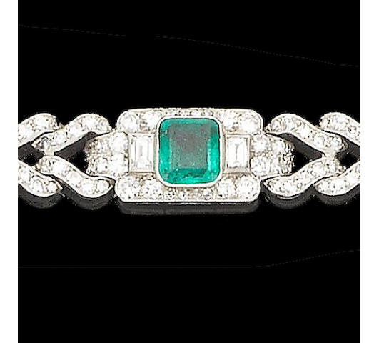An art deco emerald and diamond bracelet,