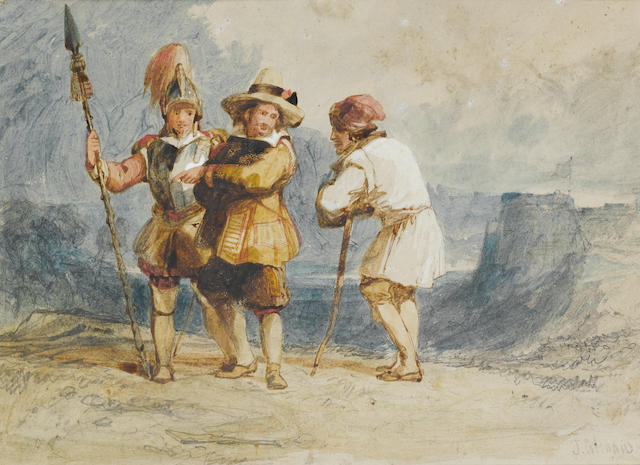 John Sell Cotman (British, 1782-1842) Three figures in historical dress