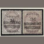 Bechuanaland: Mafeking Siege Stamp: 1900 Great Britain overprinted Bechuanaland and Mafeking Besieged 3d. on 1d. lilac SG.7 and SG.12 mint. (381)
