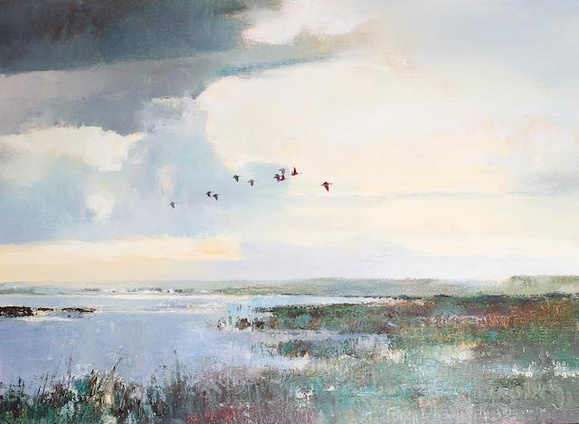 Errol Stephen Boyley (South African, 1918-2007) Ducks in flight over an estuary