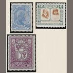 "Liechtenstein: 1912-1933: A mint selection (mostly unmounted) in mainly good condition incl. 1912-15 set of 3 (4) and 25h. on unsurfaced paper, 1921 3r. and 7½r. perf. 9½., 1924-27 set of 7, 1930 with values to 2F., 1930 Air set, 1933-35 set., etc., also Austria 1922 ""Musicians' Fund"" set (2), 1923 ""Artists' Chariety Fund"" set and Germany - West Berlin 1953 ""Kaiser Willhelm Memorial Church Reconstruction Fund"" set (5) c.t.o.  (99)"