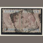 Cyprus: 1921-3: 45pi. used horizontal pair. (1045)