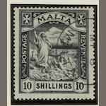 Malta: 1921-22: 10/- (wmk. Script) fine used, dealer stamp on reverse. (1128)